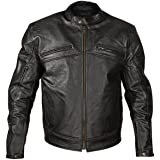 Xelement XSPR105 The Racer Mens Black Armored Leather Racing Jacket - Large