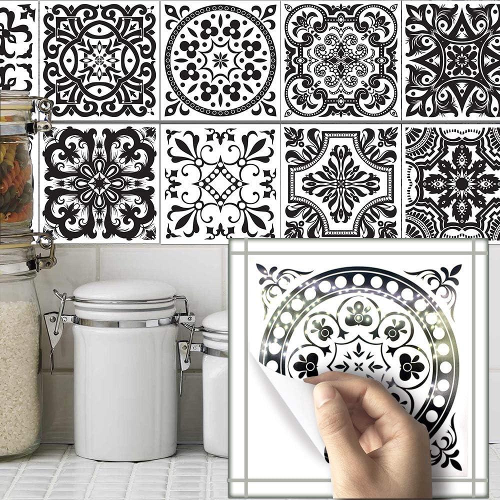 Amazon Com Ailegou Waterproof Vinyl Wall Tiles Sticker For Home Decor Self Adhesive Peel And Stick Backsplash Tile Decals For Kitchen Bathroom Decor 6x6inch 10 Pcs Black Flower Home Kitchen