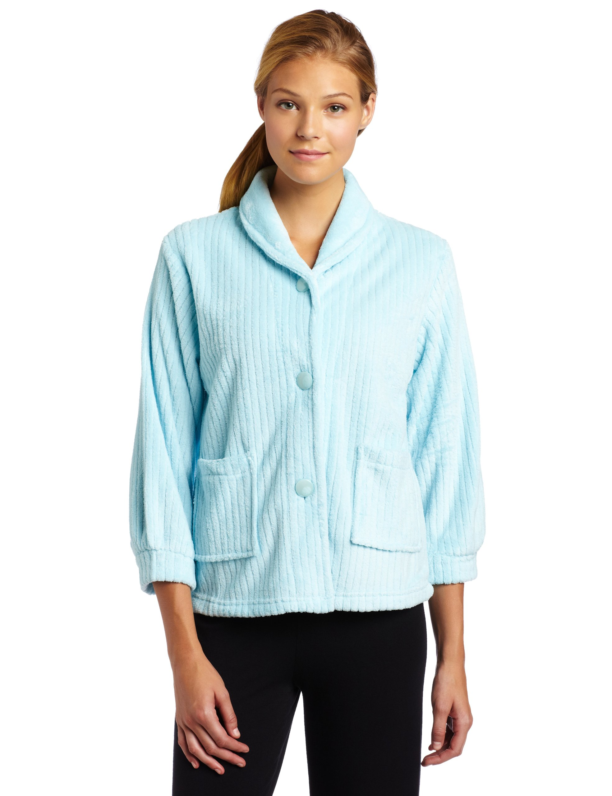 Casual Moments Womens Bed Jacket With Shawl Collar, Light Aqua, Small
