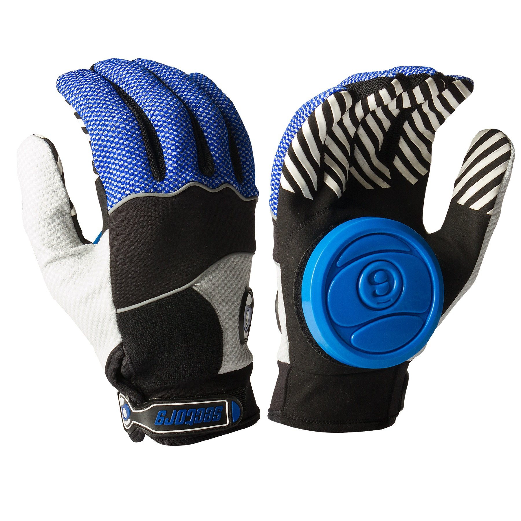 Sector 9 Apex 2014 Longboard Skateboard Slide Gloves Blue / Black / Grey / Size L/XL With Slide Pucks by Sector 9