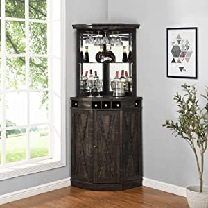 Corner Bar Unit with Built-in Wine Rack and Lower Cabinet (Distressed Black)