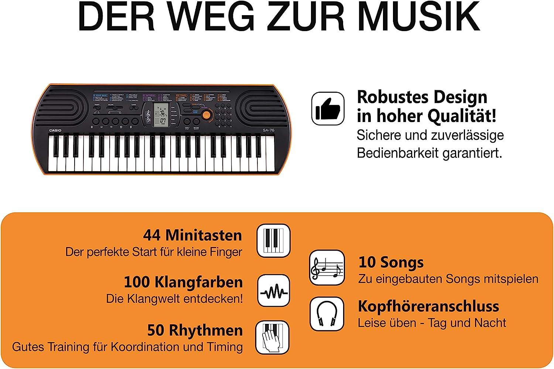 Casio 781071 SA-76 - Teclado electrónico (44 teclas mini, 100 tonos, 50 ritmos), Color Negro, 64.20 x 22.60 x 7.60cm