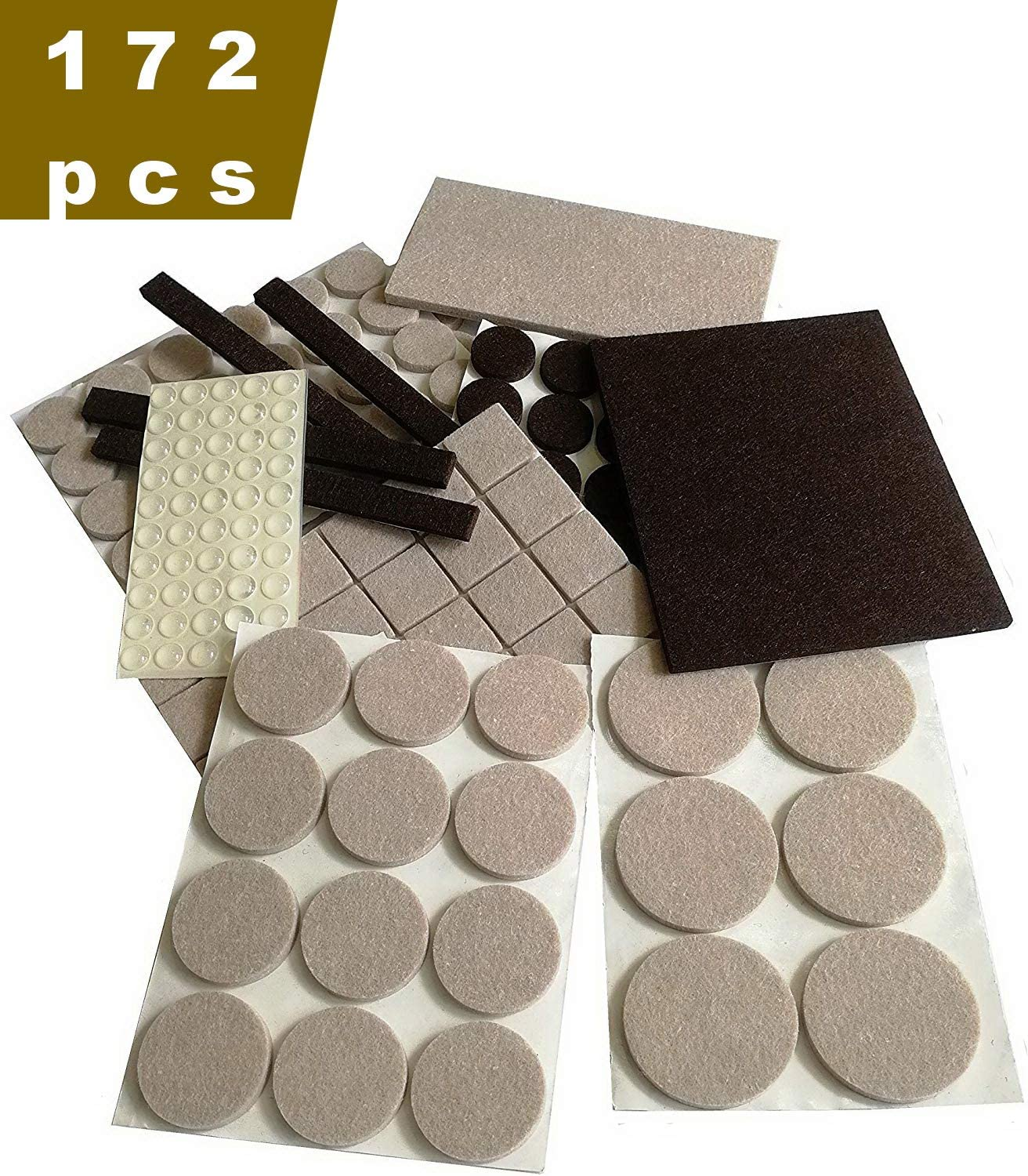 Felt Table and Chair Pads, Self-Adhesive Floor Protection Mats, Furniture Rubber Sofa Anti-Skid Pads, Floor Mute Wear Pads. A Total of 172 Senior Protective Pad, Two Colors: Brown and Beige.