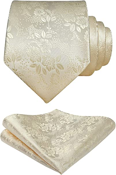 HISDERN Set da uomo con cravatta floreale con cravatta e fazzoletto da taschino