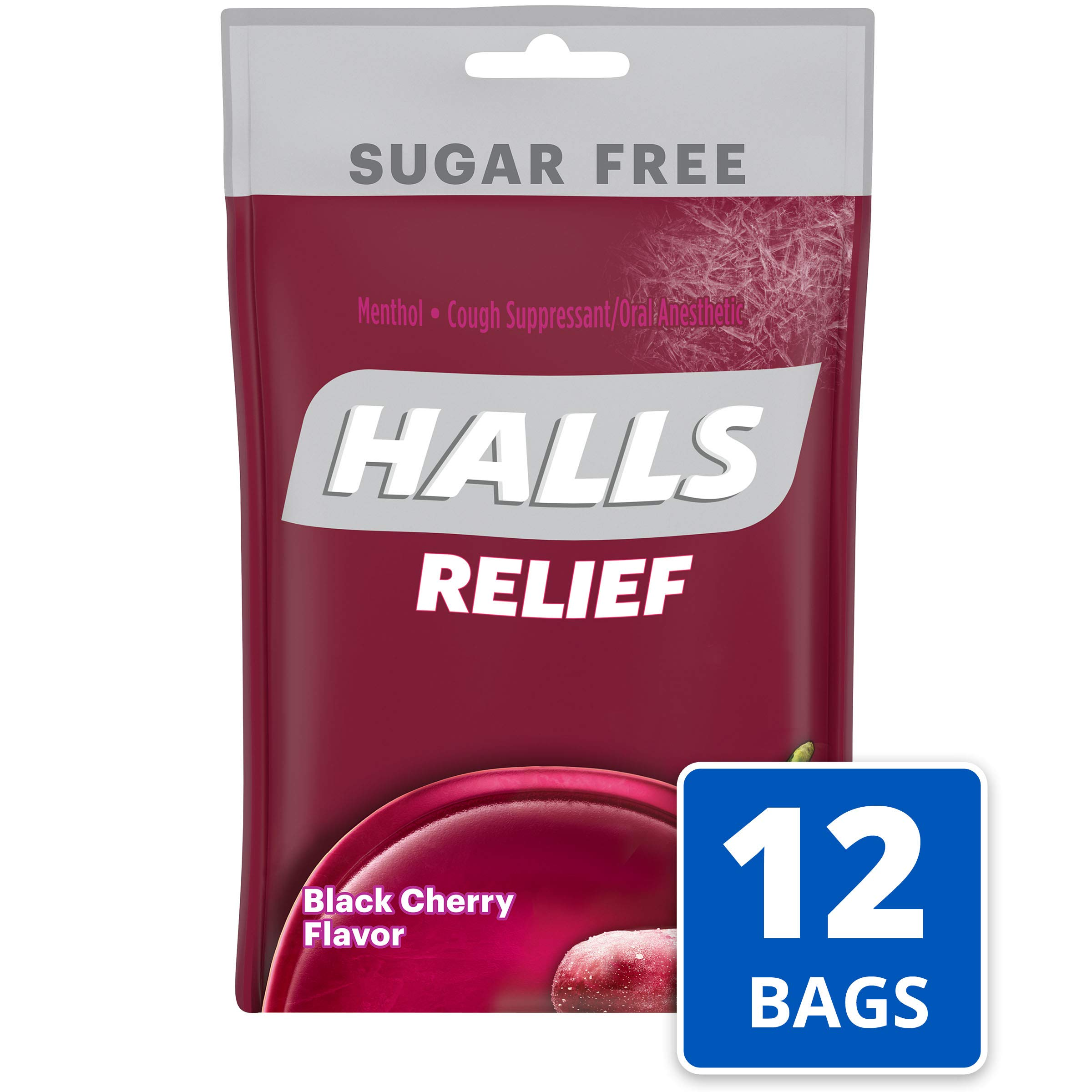 Halls Black Cherry Sugar Free Cough Drops - with Menthol - 300 Drops (12 bags of 25 drops) by Halls
