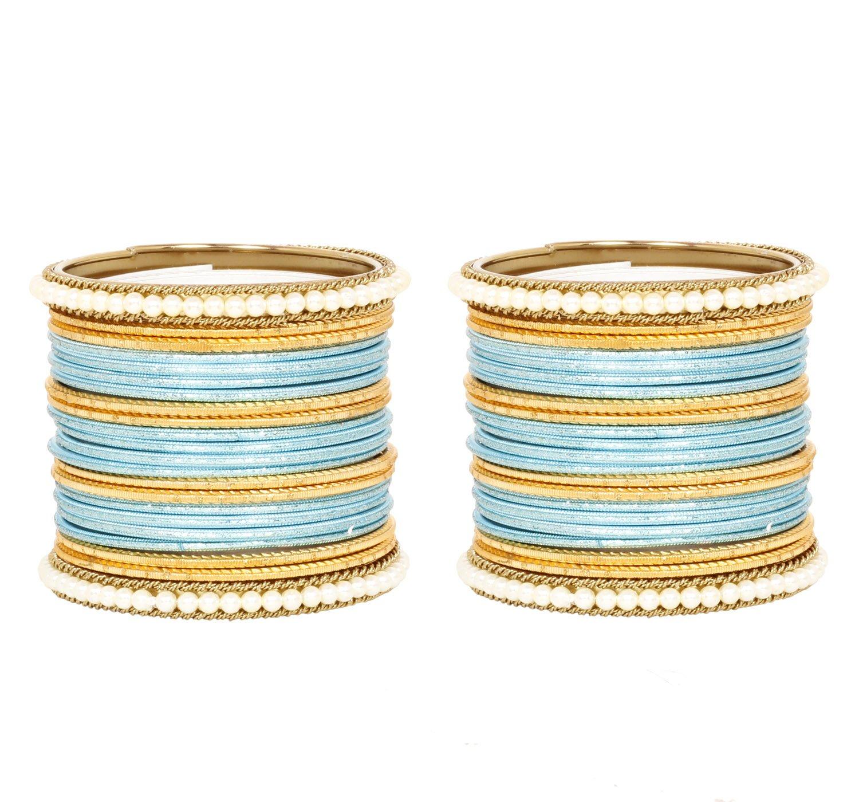 Ratna Women's Ethnic Traditional Fashion Sky Blue Bangle set Indian Partywear bangles Jewellery (2.6)