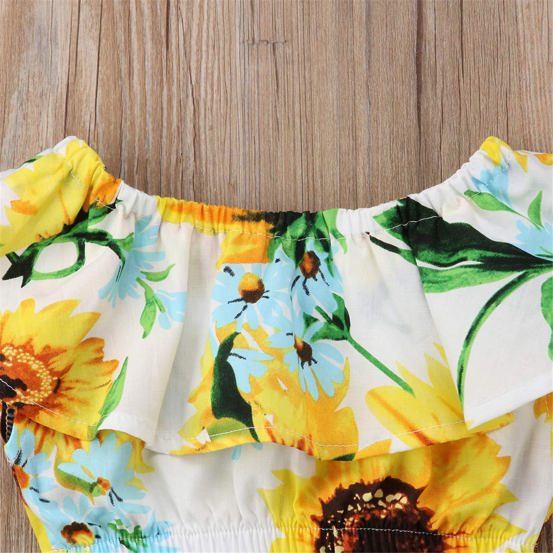 Toddler Infant Sunflower 2Pcs Kid Baby Girl Off Shoulder Crop Tops Skirt Outfits Children Summer Clothing Clothes