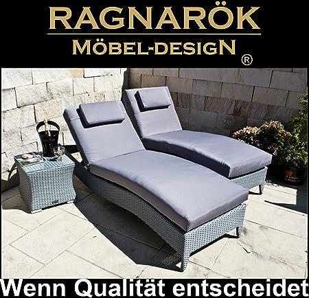Ragnarök-Möbeldesign PolyRattan Sonnenliege DEUTSCHE Marke - EIGNENE Produktion - 8 Jahre GARANTIE auf UV-Beständigkeit Polst