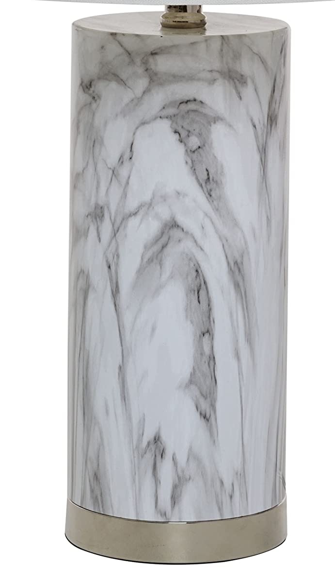 Catalina Lighting 20640-000 Amalfi Table Lamp with White Linen Drum Shade, Medium, Faux Marble
