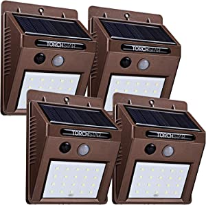 TORCHSTAR Outdoor LED Solar Powered Motion Sensor Light, IP65 Waterproof Wireless Outdoor Wall Lighting for Driveway, Patio, Garage, Porch, 6500K Pure White, Oil Rubbed Bronze, Pack of 4