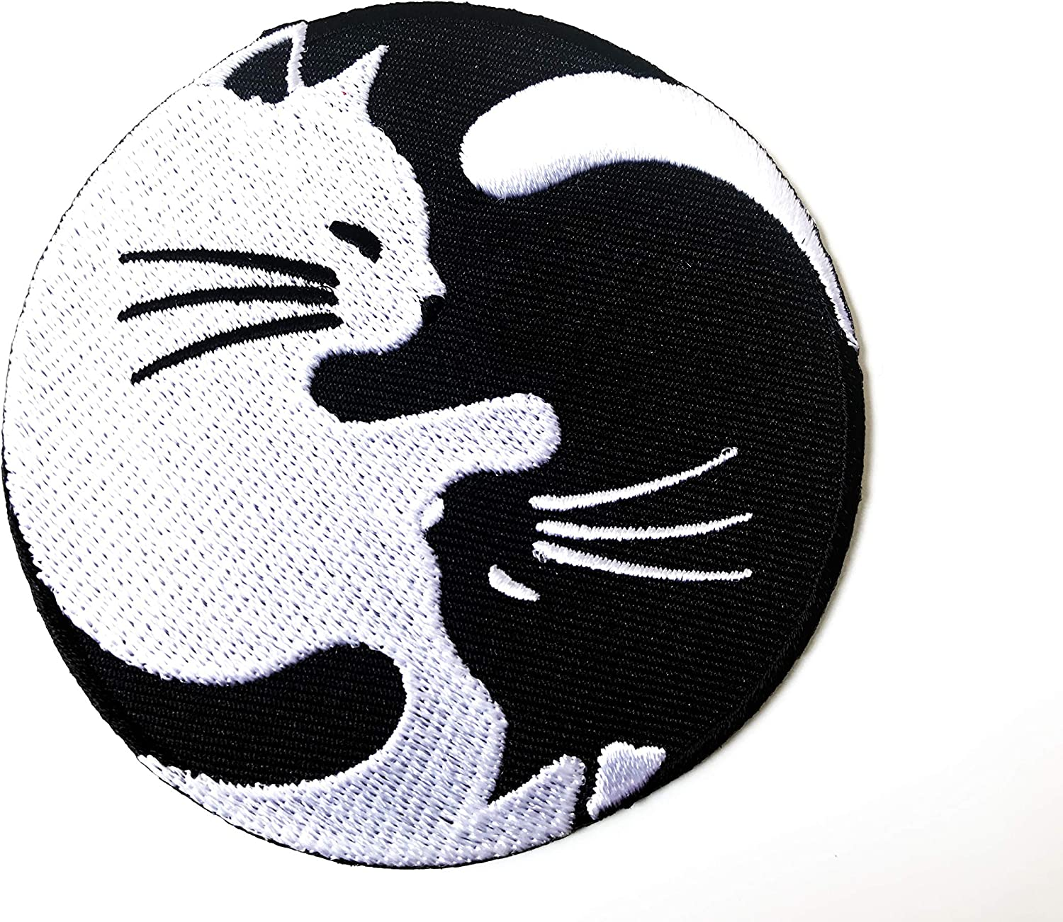 Cat Yin Yang Kung Fu Chinese Tao Balance Sign Symbol Logo T-Shirt Costume Applique Embroidered Sew Iron on Patch
