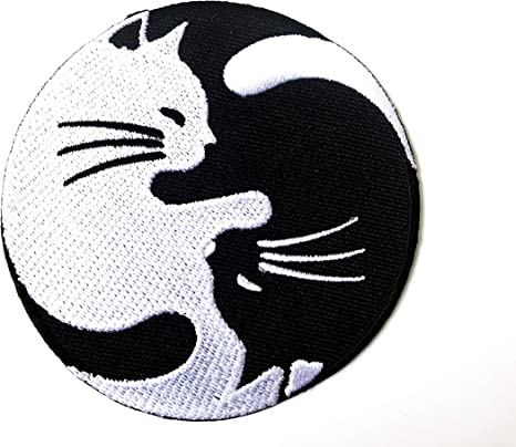 Cat Yin /& Yang Funny Iron on Embroidery Cloth Patch Sew on Badge Clothes