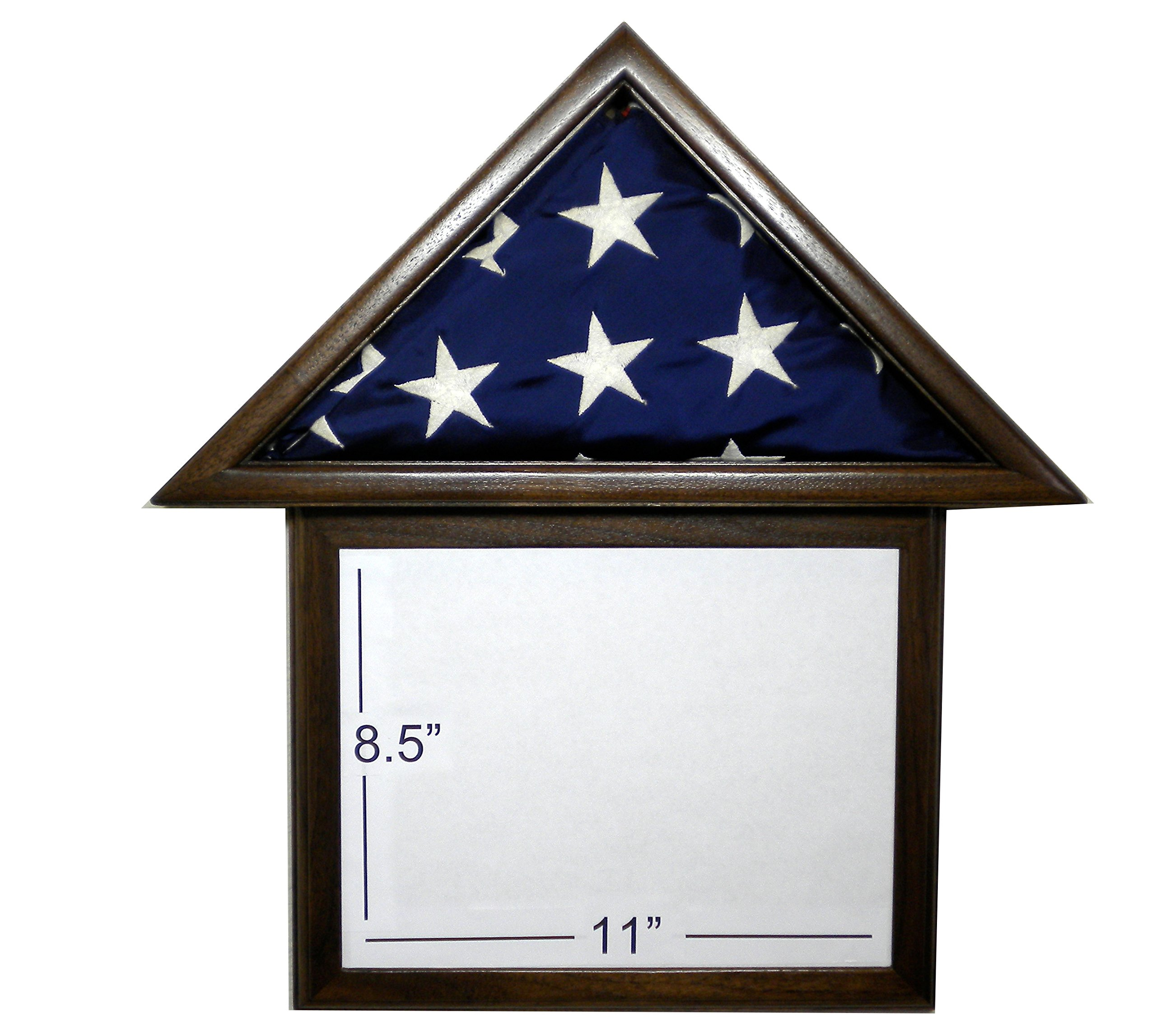 Solid Walnut Flag Display Case & attached 8.5 x 11 Frame, American Made, for 3 x 5' Nylon Flag by USAFlagCases