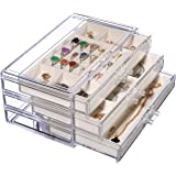 Jewelry Box for Women with 3 Drawers,Clear Jewelry Organizer Velvet Rings Necklaces Earring Bracelets Display Case Stand…