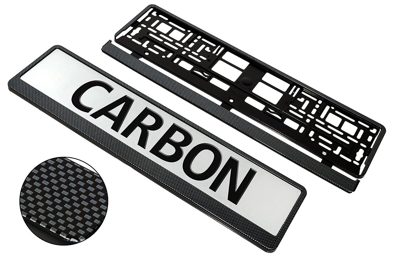 universel superbe qualit/é Taport/® Lot de 2 cadres pour plaque dimmatriculation de voiture aspect carbone