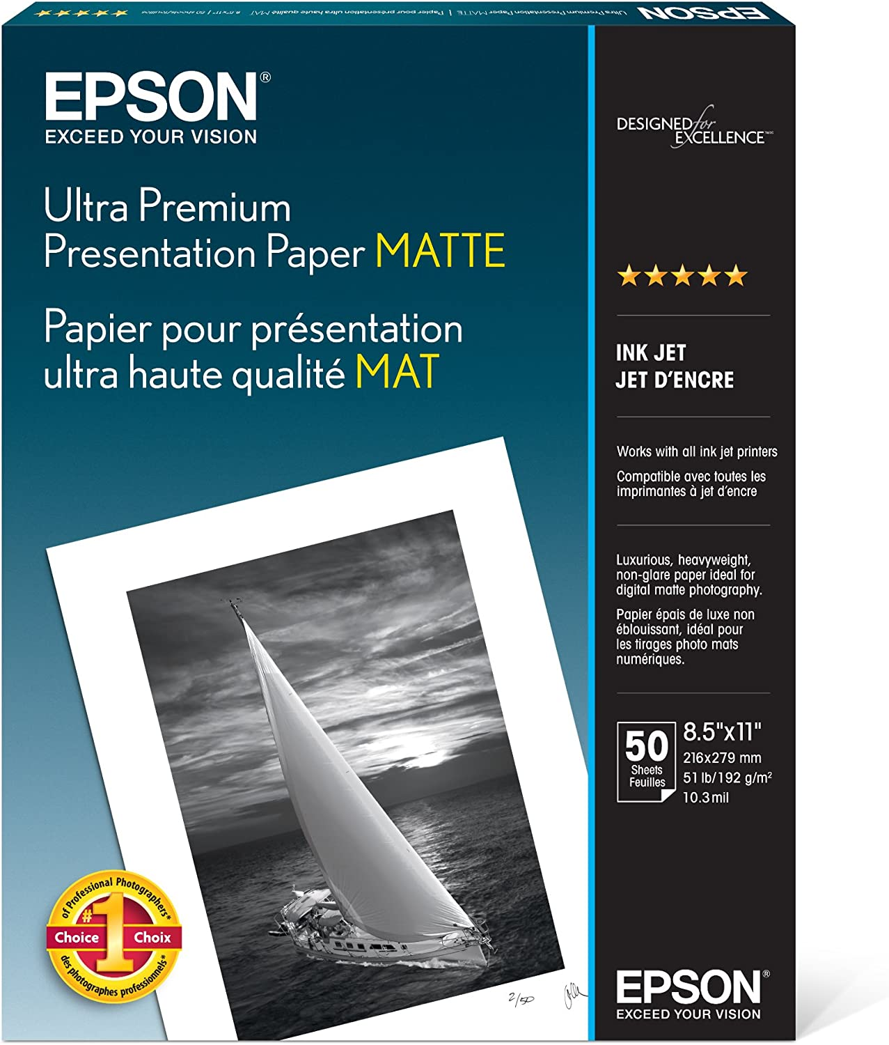 Epson Ultra Premium Presentation Paper MATTE (8.5x11 Inches, 50 Sheets) (S041341),White