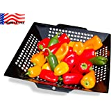 """WOK GRILL TOPPER BASKET 12"""" , MADE IN USA by Backyard Dudes ® the NON-STICK Porcelain coated BIG 12 inch is a perfect size WOK GRILL TOPPER, veggie basket, VEGETABLE BASKET, BBQ Wok Pan, cook fajita peppers & onions, shrimp, potatoes, mixed veggies with ease. Perfect for Weber Q Grill or Weber Kettle, Napoleon, Kamado, Big Green EGG, Char-Broil, Traeger, Brinkmann, KitchenAid, the Grill Topper is safe for charcoal or gas grill."""