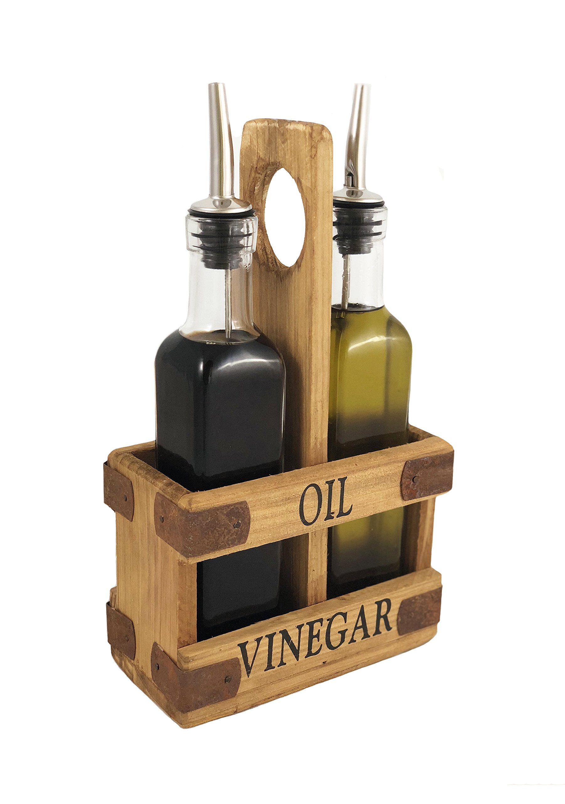 Autumn Alley Rustic Olive Oil & Vinegar Dispenser Set - Cruet Set with Wood Caddy