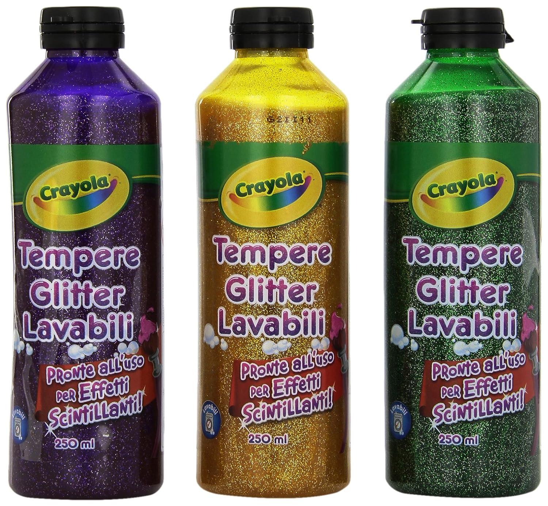 Colora Crayola-Tempere Glitter Lavabili Ass.te 3 x 250mL 3929