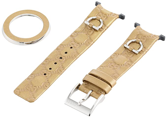 4588f845b93 Buy Gucci YFA50025 U-Play Medium Kit Gold Leather Watch Bracelet and  Matching Bezel Online at Low Prices in India - Amazon.in