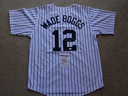 hot sales 0a3ac f664b WADE BOGGS SIGNED AUTO NEW YORK YANKEES PINSTRIPE JERSEY HOF ...
