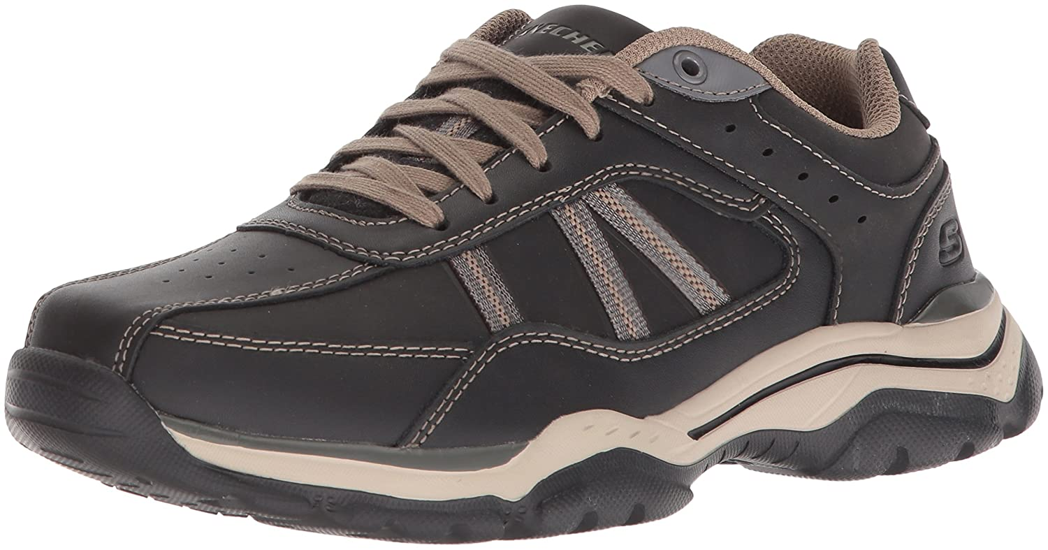 Skechers Men's Relaxed Fit-Rovato-Texon Oxford 14 W US Black Taupe