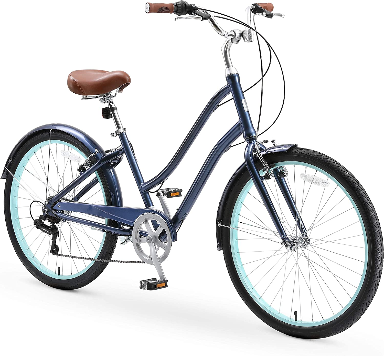 Cream with Brown Seat and Brown Grips sixthreezero EVRYjourney Casual Edition Womens 7-Speed Step-Through Touring Hybrid Bike 26 Bicycle