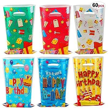 HOWAF 60 Piezas Bolsas Regalo Cumpleaños, Bolsas para ...