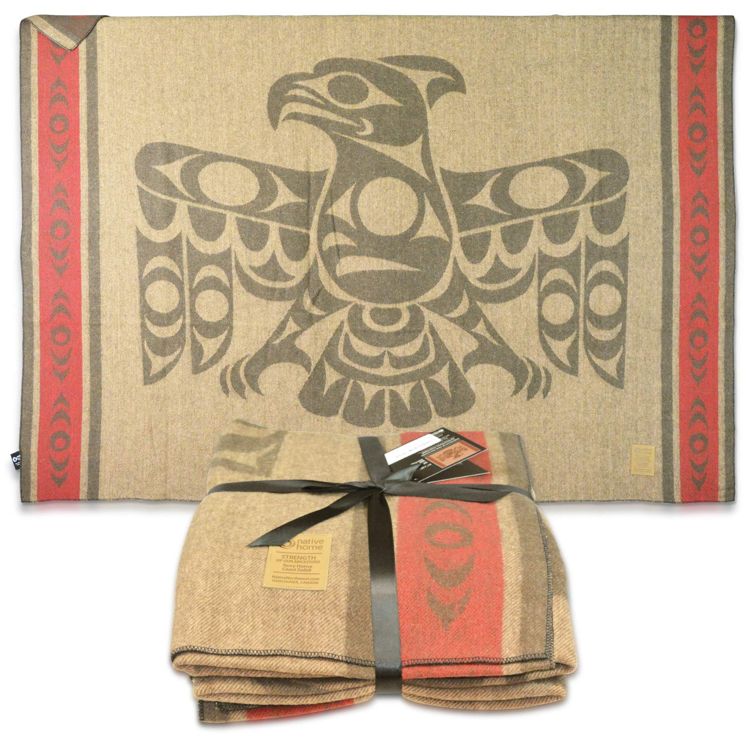 "Wool Blanket Jacquard Woven Eagle Strength Authentic Native American Decor Pacific Northwest - 51"" x 67"""