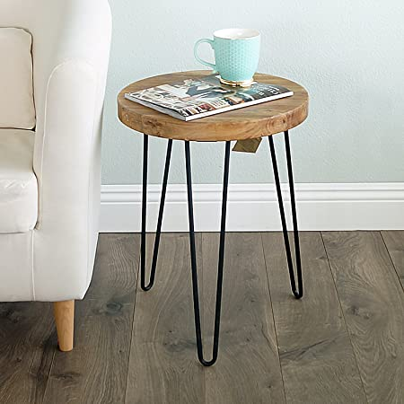 WELLAND Rustic Old Elm Wood Round End Table with 3-Leg Metal Stand