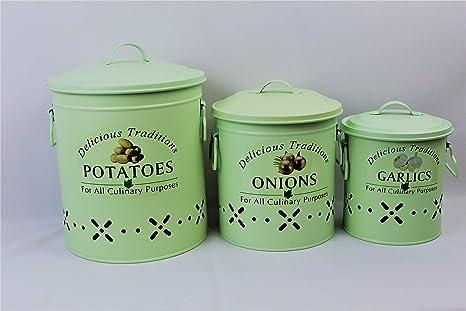 Metal Food Storage Crocks. Set of 3-Onions, Potatoes and Garlic Kitchen  storage Canisters (MATT MINT GREEN)