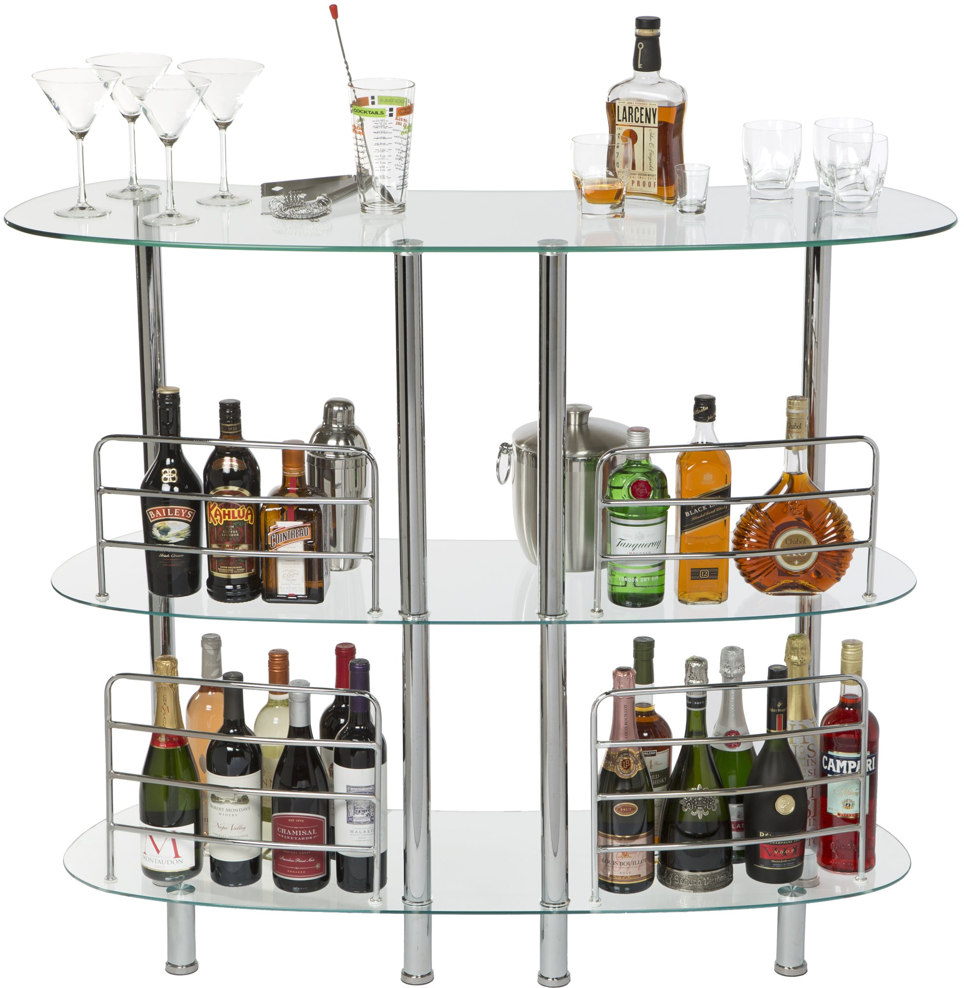 Mango Steam Contemporary Modern Home Entertainment Liquor Bar Clear Catalina Table, Tempered Glass