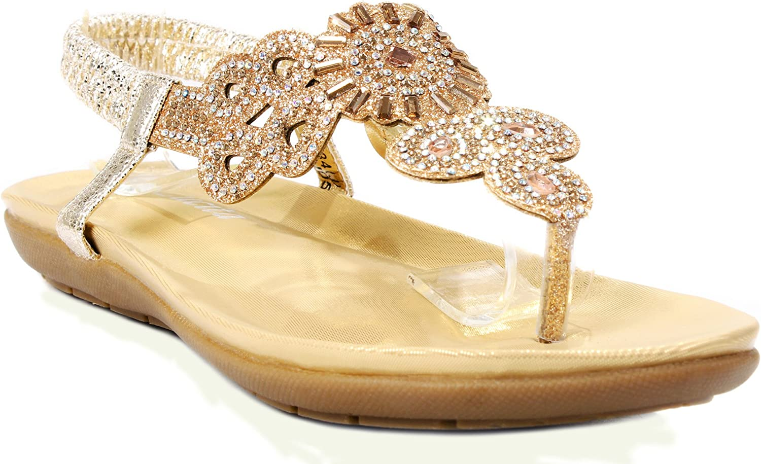 Lucita 3-25 Women Glitter Sparkle Rhinestone Cut Out T-Strap Cushioned Slingback Thong Sandals
