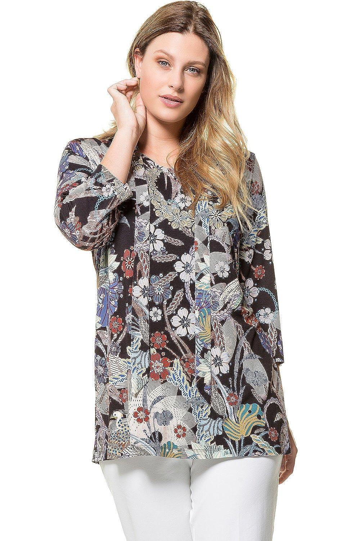 Ulla Popken Women's Plus Size Knockout Florals Knit Top
