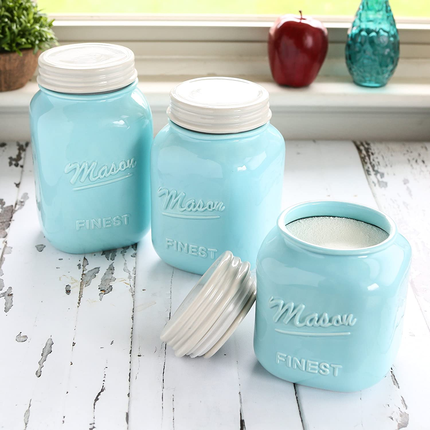 Amazon.com: Mason Jar Kitchen Canister Set - Set of 3 Kitchen ...