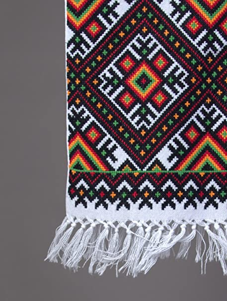 200 x 33 cm boda de Ucrania Rushnyk mano de punto de cruz bordado toalla blanco