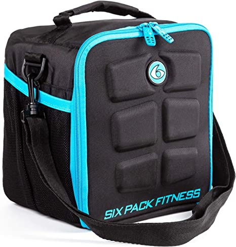6 Pack Fitness Cube comida gestión bolsa de deporte bolsa de fitness incluye latas y bolsas de refrigeración Meal Management All Black, azul: Amazon.es: Deportes y aire libre