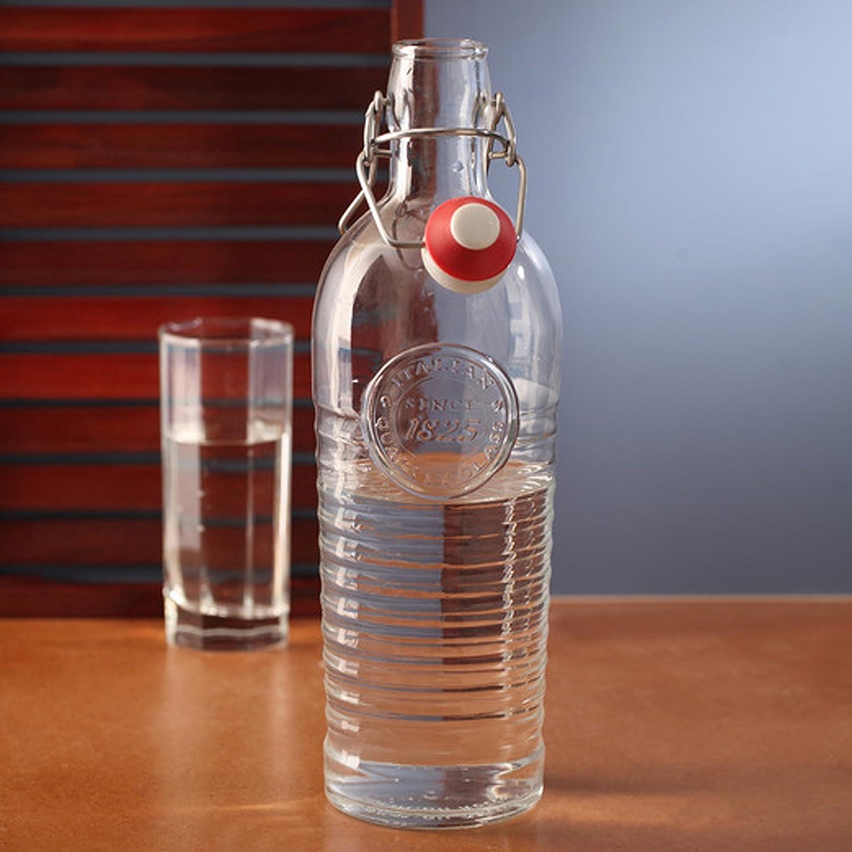 Rocco Bormioli - Botella vintage, Officina 1825, 120 cl (1,2 L), elegante, con tapón mecánico, para agua, bebidas, preparación y conservación de cócteles: ...