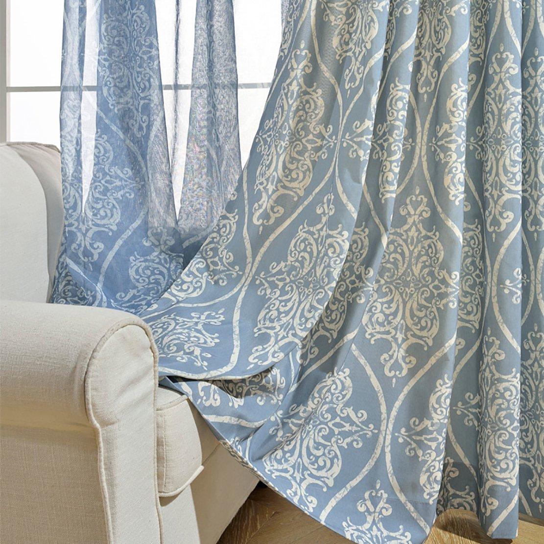Light Blue Curtains Living Room.Light Blue Curtains For Living Room Koting 1 Panel White Damascus Pattern Curtains Drapes Grommet Top 42w By 84l Inch
