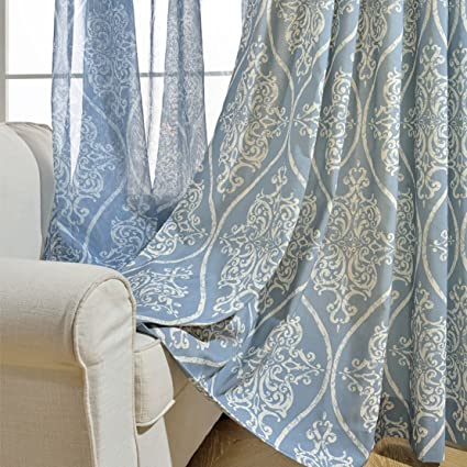 Blackout Blue Curtains for Bedroom - KoTing 1 Panel White Damascus Blackout  Lined Curtain Drapes Grommet Top 42W by 63L Inch