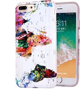 iPhone 8 Plus Case Marble, Slim-Fit Anti-Scratch Shock-Proof IMD Soft TPU Cover with Design Pattern for Apple iPhone 7 Plus/iPhone 8 Plus (World Map)