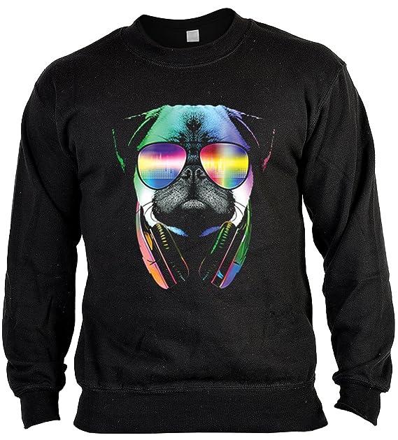 Funny Pug DJ In Sunglasses And Headphones Hoodie Neon Music Sweatshirt