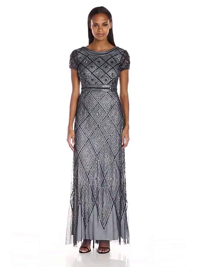 Adrianna Papell Women\'s Short Sleeve Diamond Pattern Beaded Overlay ...