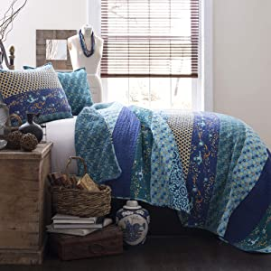 Lush Decor Royal Empire Quilt Striped Pattern Reversible 3 Piece Bedding Set, Full Queen, Peacock