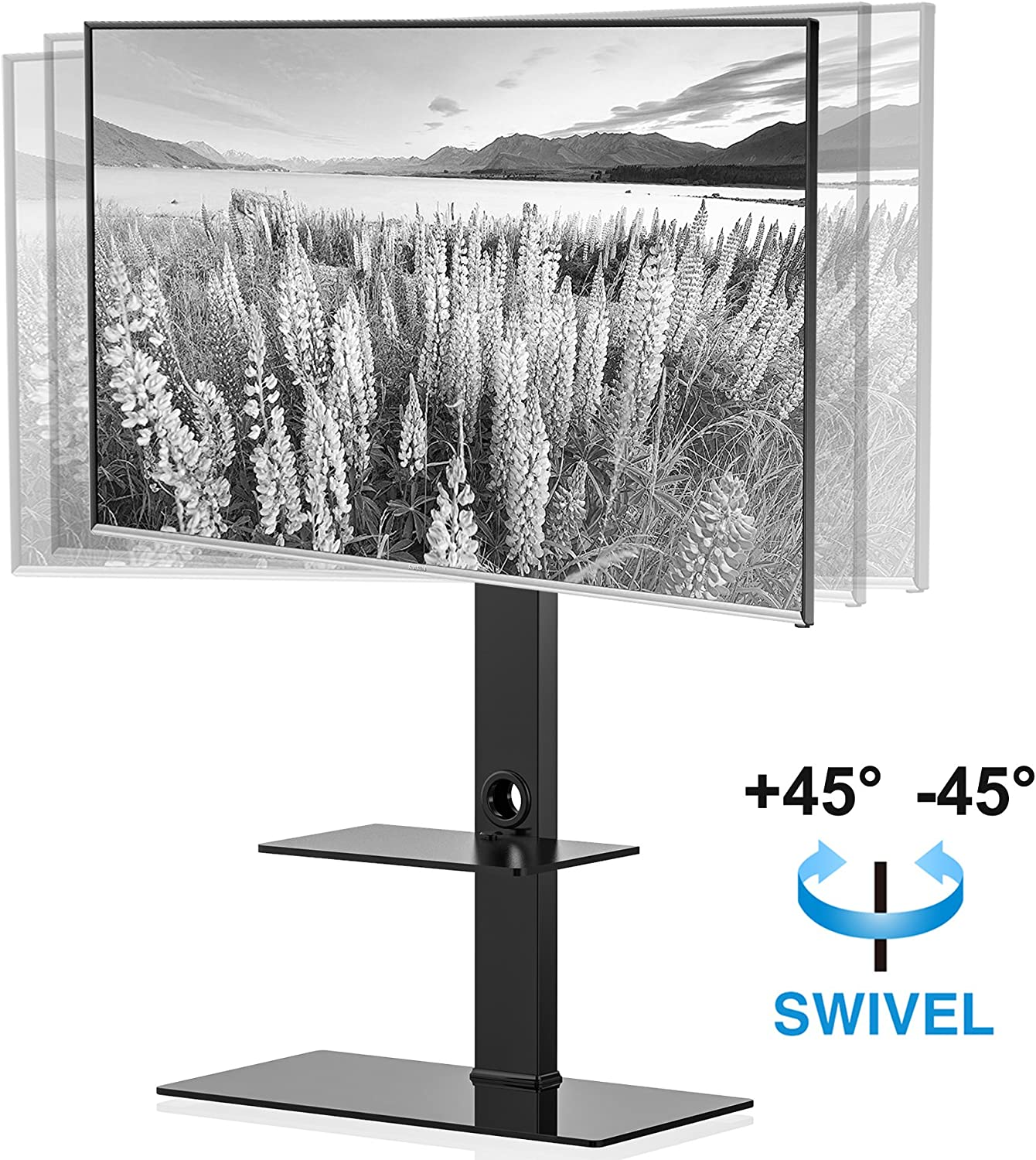 FITUEYES Universal Floor TV Stand with Swivel Mount for 50-80 Inch Flat or Curved Screens, Weight Up to 132 lbs with Tempered Glass Base TT208001MB