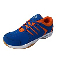 Port Women's AerusBlue Orange PVC Badminton Shoes