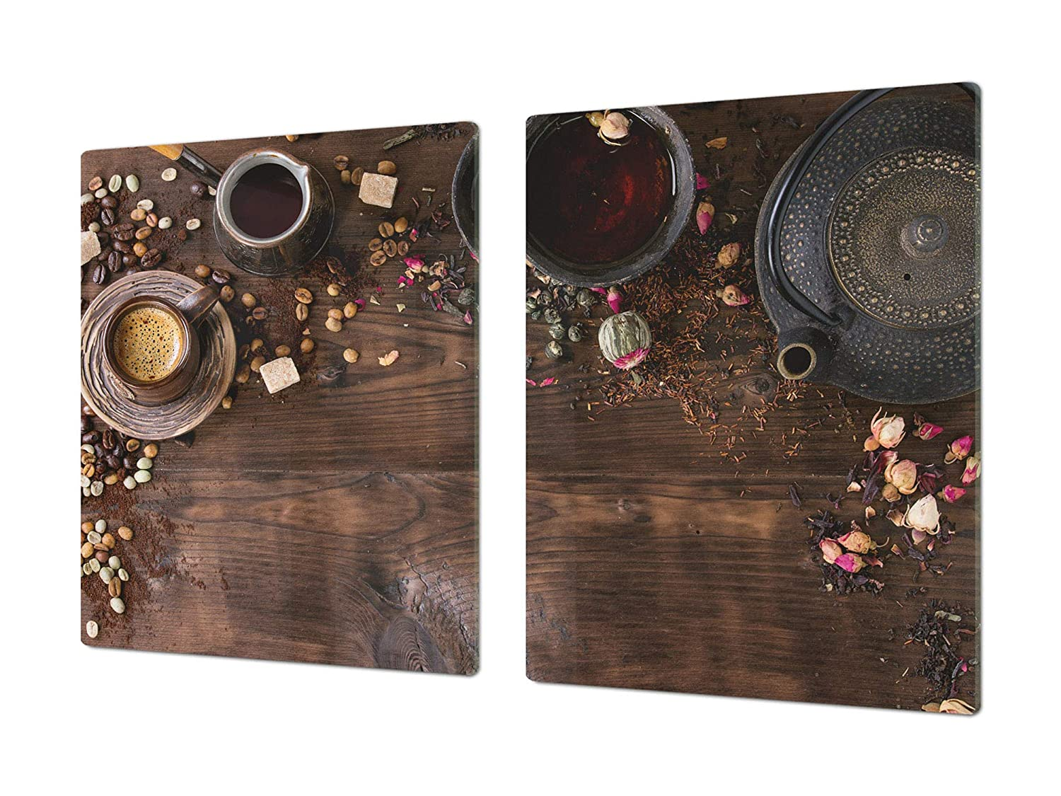 Teapot with coffee 2 2x40x52 HUGE Cutting Board – Worktop saver and Pastry Board – Scratch & Shatter Resistant Glass Kitchen Board; MEASURES  SINGLE  80 x 52 cm (31,5  x 20,47 ); DOUBLE  40 x 52 cm (15,75  x 20,47 ); Coffee series DD07