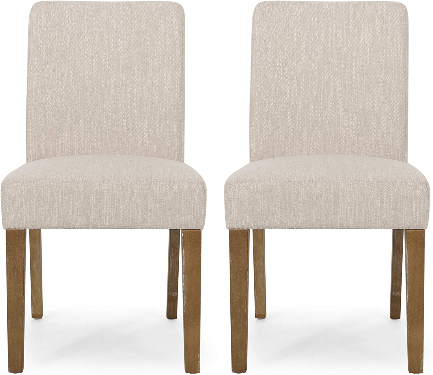 Christopher Knight Home Kuna Contemporary Upholstered Dining Chair (Set of 2), Beige + Weathered Brown