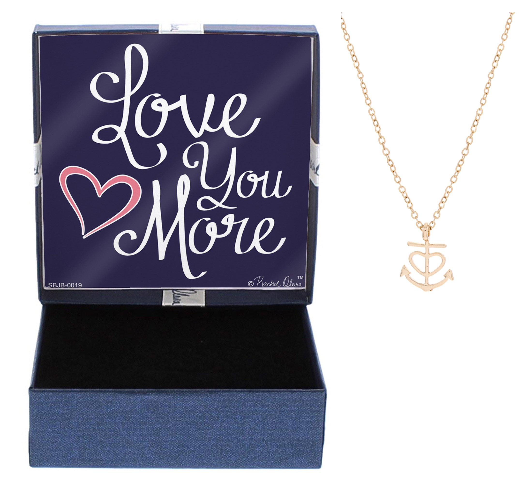 Nautical Jewelry Love You More Heart Anchor Necklace Fashion Rose Gold-Tone Link Chain Necklace Jewelry Box Keepsake Gift Boating Girlfriend