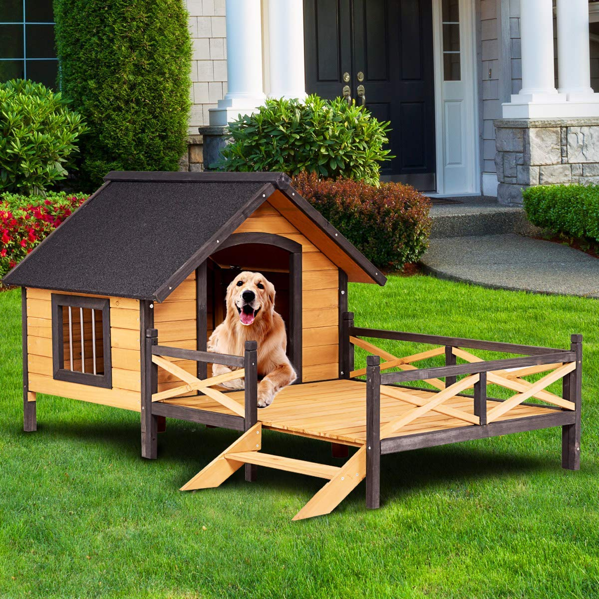 Tangkula Wooden Dog House Cabin Style Elevated Weather Waterproof Outdoor Large Pet Dog House Lodge with Porch, Spacious Deck for Sunny Nap